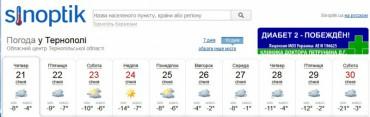 У Тернополі температура впаде до 21 градуса