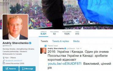 Український посол в Канаді Андрій Шевченко став 4-м за популярністю в Твітері дипломатом