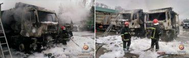 "У Тернополі згоріло два самоскиди ""Ford Cargo"""