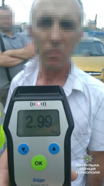 У тернопільського таксиста патрульні зафіксували в 15 разів вищу норму алкоголю
