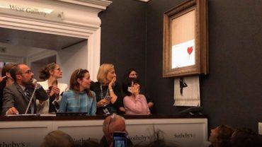 """Продана за 1 мільйон 400 тисяч доларів картина Бенксі """"самознищилась"""" на аукціоні"""