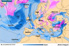 11 грудня, у вівторок, в Україну увірветься активний циклон південного походження