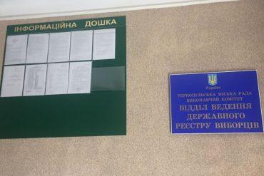 На Тернопільщині відділи ведення реєстру виборців працюють вихідними також